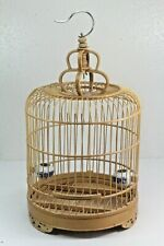 "Bamboo Pagoda Style Wood Bird Cage. 16"" X 10.25""."