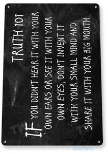TIN SIGN Truth 101 Chalk Board Metal Plaque Wall Décor Lie Detector A762