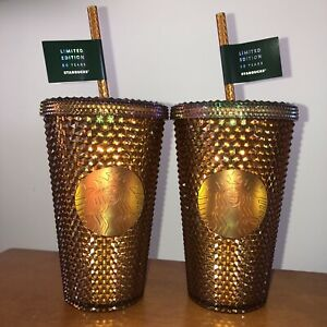 (2) Starbucks 2021 50th YEAR ANNIVERSARY GOLD STUDDED GRANDE Tumbler Cup NEW