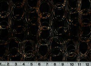 Vintage Batik Fabric Black and Gold Circles Out Of Print