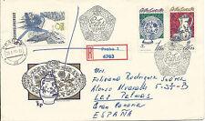 Registered letter Czechoslovakia Prague - Las palmas Canary Islands - Spain 1977