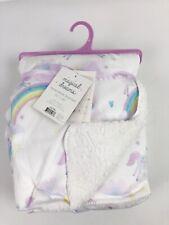 "Magical Dreams Baby Girl Pink Unicorn Rainbow Reversible Sherpa Blanket 30 x 40/"""