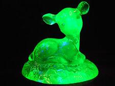 Green Vaseline glass Bingo Deer fawn buck uranium yellow paperweight animal art