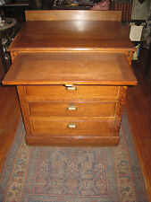 Antique Chest Of Drawers Cabinet Oak With Wood Slide Orig.Hardware