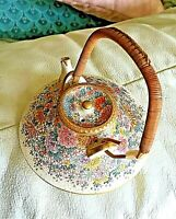 Beautiful Antique Japanese Satsuma  Miniature Teapot / floral design- Kinkozan
