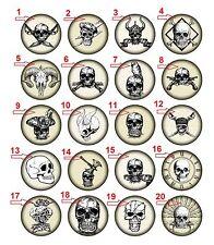 "1.25"" Flatback Button Pirate Skull (Approx. 32mm)"