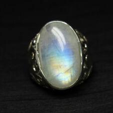 Blue Fire Moonstone Oval Cabochon 925 Sterling Silver Men's Designer Ring