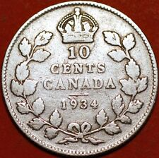 10 Cents 1934 George V silver Canada KM#23a