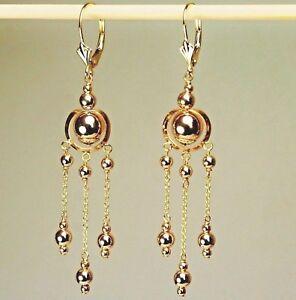 14k solid yellow gold Circle drop/dangle beautiful earrings lever back 2.1 grams