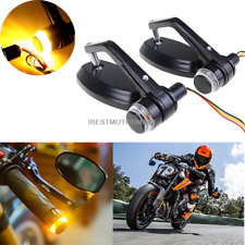"""Universal 7/8"""" Handle Bar End Rearview Side Mirrors For Motorcycle Honda Yamaha"""