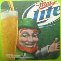 MILLER LITE GET LUCKY WITH GREAT TASTE Beer COASTER Mat Milwaukee WISCONSIN 2012