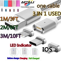 ACALI 1M 2M 3M 3in1 Magnetic Charger Type-C/IOS/Micro USB Data Cable Magnet Port