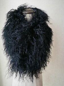 Real Mongolian Lamb Fur Scarf Neckerchief Winter Warm Shawl Wraps Fluffy Soft