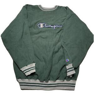 Vintage Champion Spellout Script Ringer Reverse Weave Crewneck Sweatshirt 2XL 90