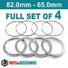 82.0 - 65.0 Spigot Rings Hub Rings FULL SET BBS wheels aluminium spacers rings