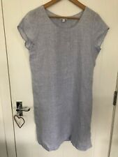 The White Company UK12 Ladies Light Blue Linen Short Sleeve Shift Dress