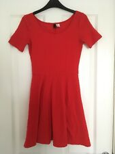 e530e2e876 H M DIVIDED Red Textured Skater Dress Size XS 8