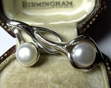 Vintage Art Nouveau Style Sterling Silver Real Pearl Calla Lily Necklace PENDANT