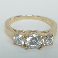 1.60 Ct 14k Solid Yellow Gold Classic 3 Stone Round cut Engagement Wedding Ring
