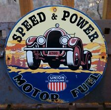 """VINTAGE UNION SPEED AND POWER GASOLINE PORCELAIN PUMP PLATE SIGN """"USA 1922"""" CAN"""