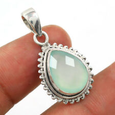 Aqua Chalcedony Solid 925 Sterling Silver Pendant Jewelry IN-1969
