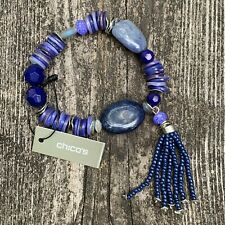 Chico's Chico's Christi Bracelet Purple Natural Stone with Tassel New