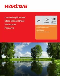 Hartwii 100 Sheets A4 Glossy Clear  Laminate Pouches Film 150 Micron 303 x 216