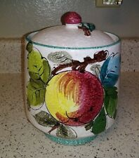 """Hand Painted Italy Art Pottery 8"""" Fruit Canister Applied Cherry & Leaf Finial EX"""