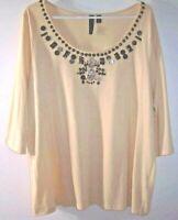 Avenue tees 2 please Knit Top Women Plus 18/20 Beige w/ Embellished Neckline