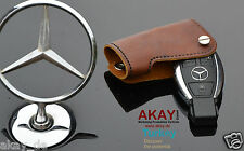 Leather Smart Key Holder Fob Case For Mercedes C E SLK CLS ML GL CLK Class Brown
