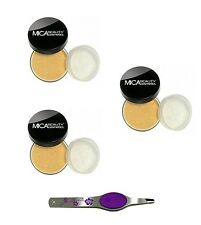 3x mica beauty 9gr FOUNDATION cappuccino MF5  +White  Floral Lighted tweezers
