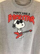 "Peanuts Snoopy ""Party Like a Rock Star"" Gray Tee Shirt Sz L Metal Guitar"