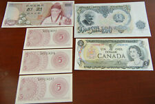 1975 South Korea 1,000 Won Note + 1973 Bank of Canada + 4 other foreign bills