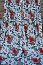 """Drapes Lined Pinch Pleated Large Floral Print on White 44"""" Wide x 96"""" Length"""