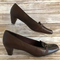 Trotters 7.5M Brown Leather Square Moc Toe Dress Pump Block Heel Womens