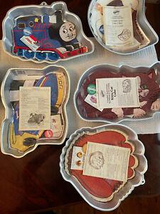 Lot of 5 Wilton Cake Pans Kids Thomas Train Race Car Baseball Mitt Kitty & Goose