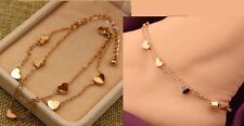 14K Rose Gold Stainless Steel Heart Charms Anklet Foot Ankle Chain Bracelet P16