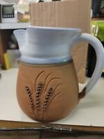 Steve Ashley Pottery Pitcher Stoneware Terra Cotta Blue Glaze Wheat