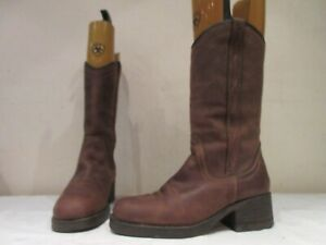 WRANGLER BROWN LEATHER WESTERN MID HEIGHT PULL ON BOOTS UK 6.5 (3722)