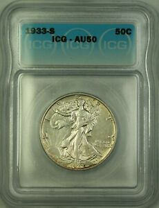 1933-S Walking Liberty Silver Half Dollar 50c Coin ICG AU-50 (Better Coin)