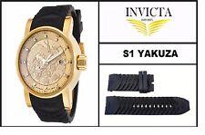 Black Silicone Rubber Watch Band Strap For Invicta S1 YAKUZA / DRAGON / NINJA