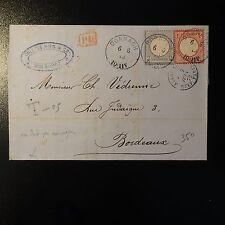 GERMANIA N°4 + N°5 LETTERA CORTO 1872 CAD DORNACH PER BORDEAUX FRANCIA