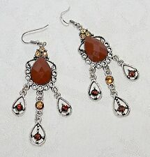 """Brown Cabochon Yellow & Brown Crystals Drop Dangle 3 1/4"""" Silver Earrings NEW!"""