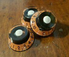 2 Jat Guitar Top Hat Volume/Tone Knobs With Set Screw. Orange/Black/Cream. Jat