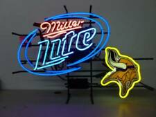 "Minnesota Vikings Miller Lite Neon Lamp Sign 20""x16"" Bar Light Beer Display Pub"