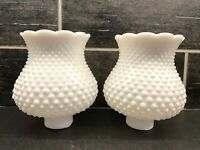 Vintage Hobnail Milk Glass Wall Sconce Lamp Shade Globe, Scallop Top, Set of 2