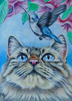 ACEO Original Miniature Painting Cat Bird Flower Nature Landscape Acrylic Art