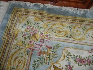 Aubusson Teppich France Wolle handgeknüpft Blumen Rosen Floral shabby