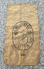 Ancien sac en toile de jute BRET et fils Le Pin Isére déco indus 1961 old bag