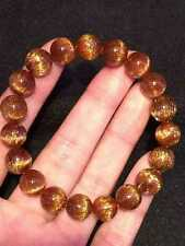 10mm  Natural Cat Eye Copper Rutilated Quartz Crystal Beads Bracelet AAAAA